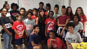 Christina Soontornvat at a middle school in New Orleans