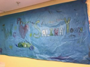 Banners for Salina Yoon's author visit at Brooke Charter in Boston.