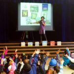 Liz Garton Scanlon speaking to young readers and writers