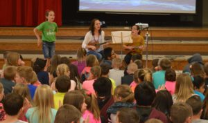 Elaine Vickers includes music in her author visits.